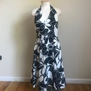 Floral black and white halter dress in size 6